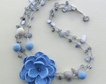 crocheted necklace, 100% cotton, beaded necklace, blue and grey, floral necklace, romantic, gift for her,