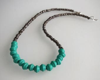 Turquoise & antique Silver beaded statement necklace