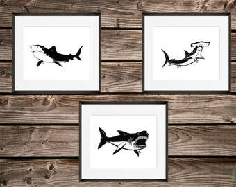 Shark Bros  Art Prints / Black and White Ink Drawing / 3 Shark Set / Home Decor / Birthday Gift