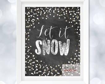 Let it Snow Printable - Christmas Decor, Christmas Lyrics, Holiday Digital Printable, Christmas Printable, Xmas Decoration, Xmas Printable