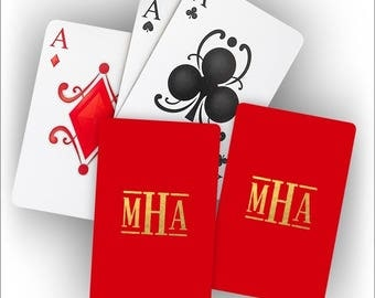 Monogram Personalized Foil Stamped  Playing Cards  - 2 decks - 3995M