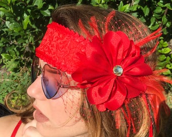 Red Crown Festival Accessories Red Bridal Headpiece Red Wedding Accessories Red Fascinators Red Jacquard Red Satin Flower Red Trim