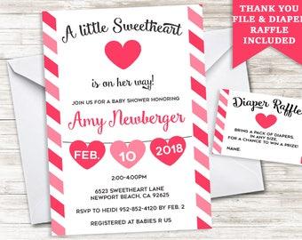 Valentine Baby Shower Invitation Invite Digital Hearts Sprinkle Stripes 5x7 Valentine's Day Girl Sweetheart