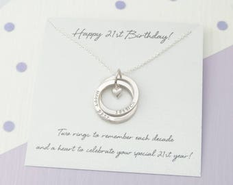 Personalised 21st Birthday Gift For Her, Personalized 21st Birthday Gift For Daughter, 21st Birthday For Her - 21st Birthday 2 Ring Necklace
