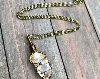 Brass Natural Citrine Necklace