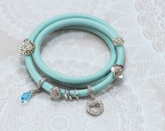 Leather wrap bracelet, Light Blue leather bracelet, Flower Charms, Heart Charm