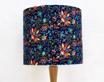 Floral Indian Print Fabric Lampshade Handmade Drum Lamp shade Navy Blue
