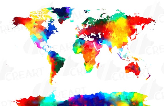 Watercolor world map poster digital art print eps png jpg svg watercolor world map poster digital art print eps png jpg svg vector illustrator corel files included instant download from creartdesigns on etsy gumiabroncs Images