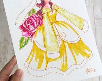 """"" Breton painting, ""eternal,""Brittany"",""Kaerenn"","" Rose"", watercolor on paper, stationery, decoration, Christmas gift girl"