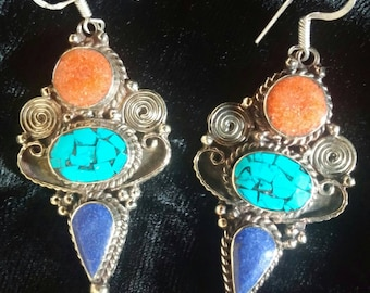 Amazing 70's Hand Made Original Tibetan Stone and Silver Ethnic Earrings