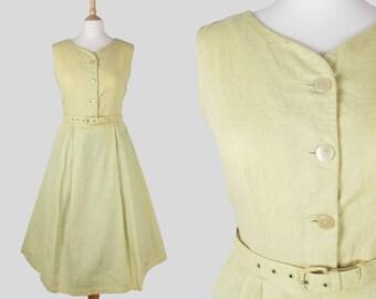 "50s Vintage St Michaels Pastel Yellow Full Skirt Cotton Sun Dress with Original Belt- Medium 28"" waist"