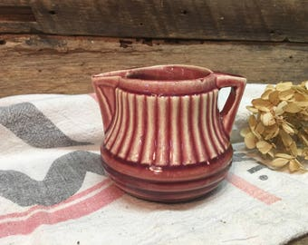 Vintage Ironstone Creamer/#379/Pink/Rose/Farmhouse Dishes