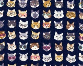 Animal World - Glasses Cats  - Kokka Japanese cotton canvas fabric - 1/2 yard or more
