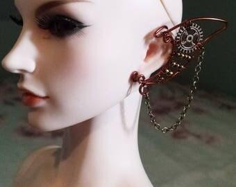 1/3 bjd doll earcuff steampunk earring
