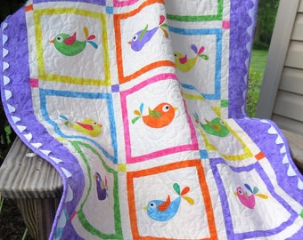 Handmade Toddler Quilt for Sale | Floor Quilt | Large Blanket | Boy | Girl | Newborn | Nursery | Infant | Baby | Birds | Gender Neutral