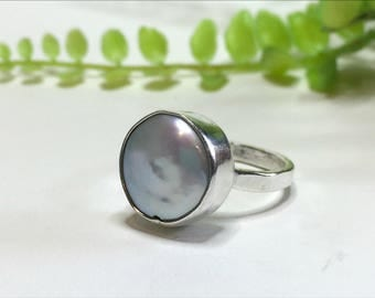 Coin Pearl Ring, Sterling Silver Ring, Adjustable Silver Ring, Fresh Water Pearl Ring, Handmade Silver Ring, Gift For Her, Under 100 Dollars