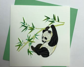 Panda Quilling Greeting Card