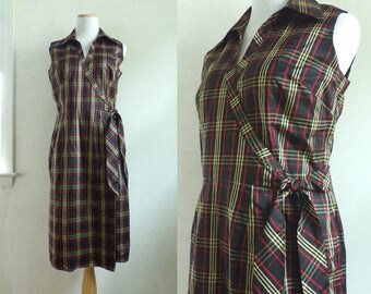 90s silk taffeta dress plaid silk wrap dress tartan silk dress preppy collared sleeveless sheath dress womens medium