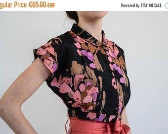 Silk Crop shirt / Crop Top / Silk Cropped Top / Vintage Top