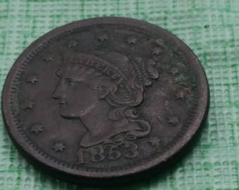 1853 Braided hair  large cent,  VF  details US coin. #S518