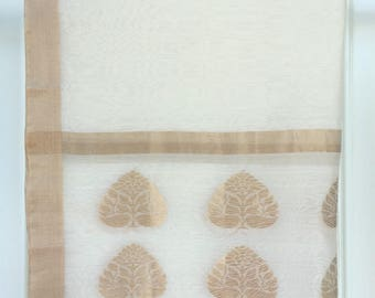 Royal Chanderi Handwoven Silk Stole With Zari Motif And Zari Border