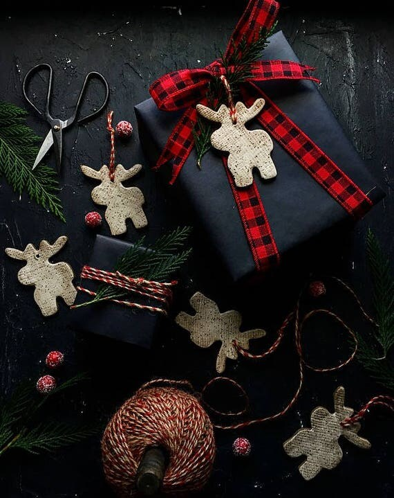 White Speckled  Moose Ornaments