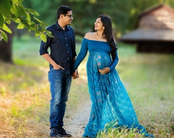 Maternity Gown for Photo Shoot-Long Sleeve Maternity Dress-SPLIT FRONT Maternity Gown-Maxi Gown-Maxi Maternity Dress-Lace Maternity Gown