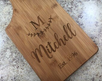 Monogram Cutting Board Couple Gift Engraved Paddle Board Engraved Cutting Board Wedding Cutting Board Engraved Last Name Wedding Gift