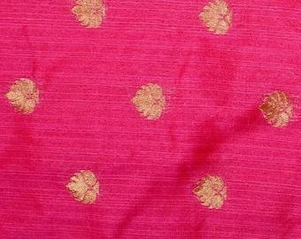 10% Off On Half Yard of Dark Pink and Golden Flower Pattern Brocade Silk Fabric, Indian Silk Fabric, Brocade Fabric