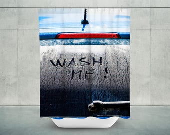 Wash Me Bath Shower Curtain | Car Wash Shower Curtain | Car Wash Bath Curtain | Car Wash Bathroom Decor | DAD Gift | Shower Curtain for Men