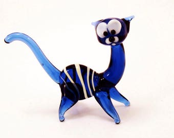 Blue Glass cat figurine animal beads collection lover gift paperweight cat cute glass animals character desk animals fairy art fantasy gift