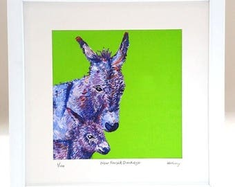 New Forest Donkeys, Limited Edition, Framed, Signed, Print