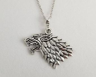 Game of Thrones Stark Necklace, Direwolf Necklace, Stark Sigil, Arya Stark, Sansa Stark, Game of Thrones Gift