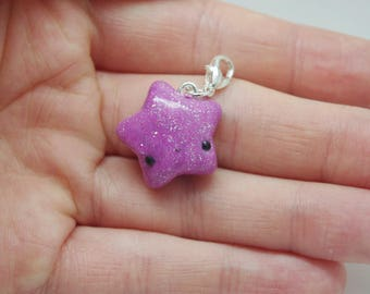 Polymer clay, purple, glittery, kawaii, star charm, fashion accessory