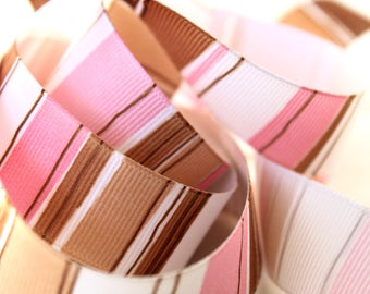 7/8 Pink and Brown Stripe Grosgrain Ribbon