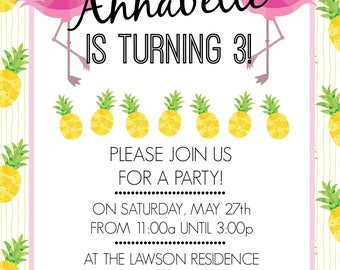 Flamingo Pineapple Invitation