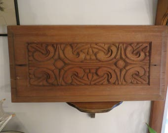 "Wooden plank panel carved wood decor 22"" x 10 3/4""."