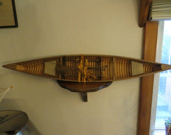 Miniature Wood Canoe with Paddles & Stand for Beach House Nautical Decor