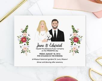 Custom Wedding Illustration. DIY. Digital file. Personalized Illustrated Wedding Set. Wedding portrait invitation. Custom Couple Portrait.