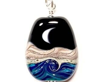 Shore Break - Handmade Lampwork Crescent and Full Moon Ocean Landscape Bead on Sterling Silver
