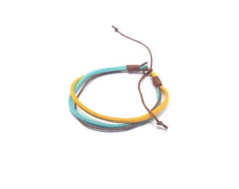 Men's yellow and turquoise bracelet