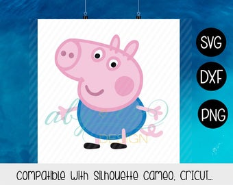 George Pig  SVG, Layered George Pig, Vector George Pig, Clipart, Dxf, Jpg, Iron On Transfer Paper, Silhouette, Cameo, Cricut, Cut Files