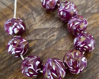 Handmade Beads, Purple, Gold and White Round Polymer Clay Beads, String of 9 for Jewelry Making , Jewellry Supply, 10- 12mm approx, Bohemian