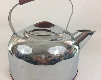 Vintage Stainless Steel Tea Kettle Mid Century Large Copper Bottom, Vintage Kitchen, Retro