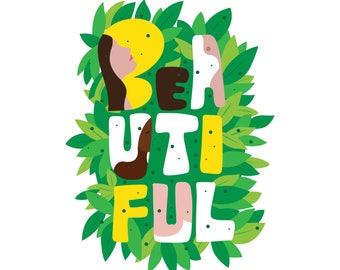 Beautiful Body Positivity Printable, Digital Download, Female Beauty, Art Print Download