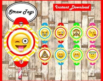 Emoji Straw Tags, printable Emojis party Straw Tags, Emoji toppers