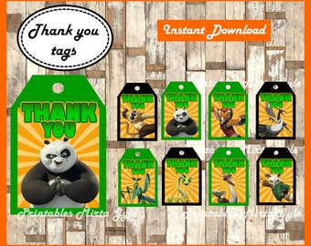 Kung Fu Panda Thank you Tags, printable Kung Fu Panda party Thank you Tags, Kung Fu Panda Tags