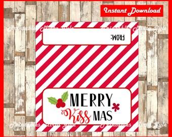 Merry KISS-mas Treat Bag Topper - Christmas Bag topper - Printable - Instant Download