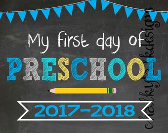 first day of school sign, first day of preschool photo prop, back to school pictures, back to school sign, preschool sign, chalkboard sign