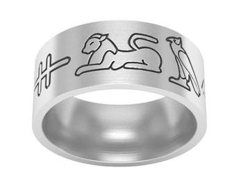 Custom Hieroglyphic Band Ring in Sterling Silver Metal, Hieroglyphic Jewelry, Custom Name Band Ring, Egyptian Symbol Ring, Wedding Band Ring